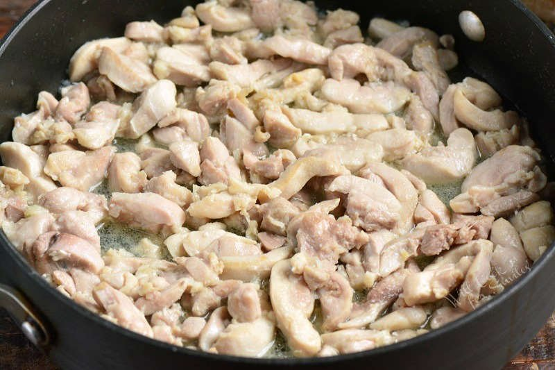 chicken cooking in the pan