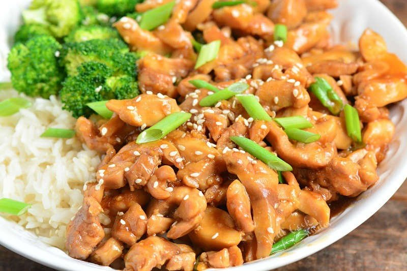 horizontal image of chicken teriyaki in a bowl
