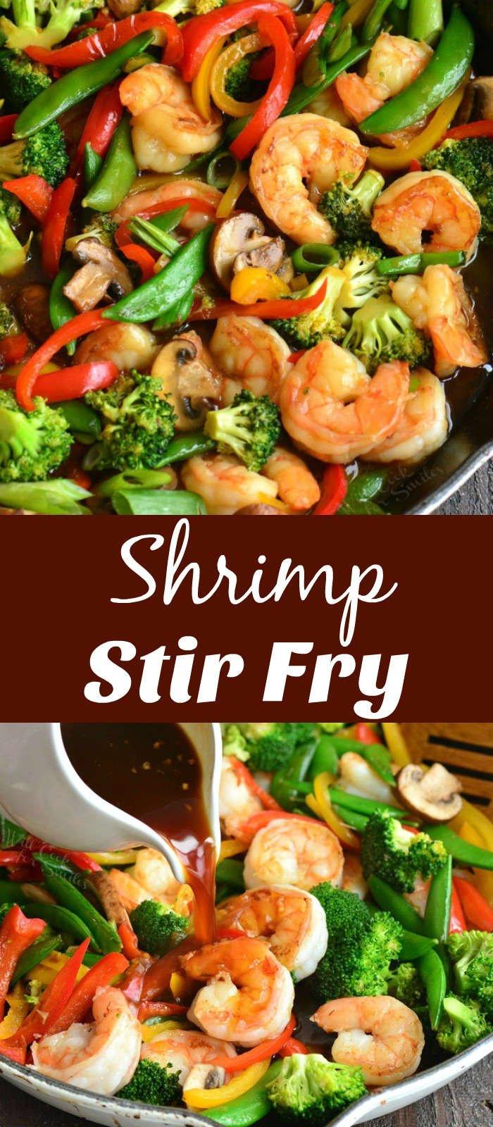 shrimp stir fry collage in a pan
