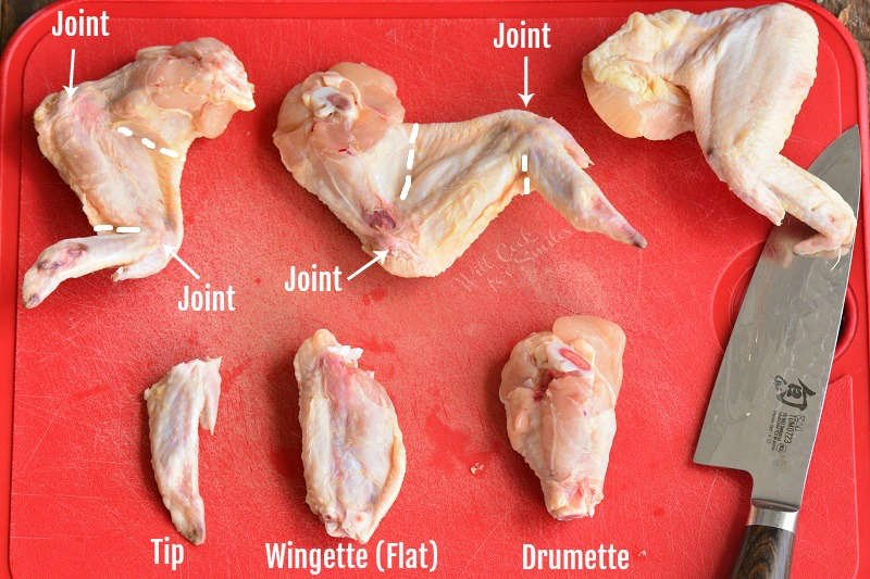 how to break down a chicken wings. Pieces of the wings on a plastic cutting board