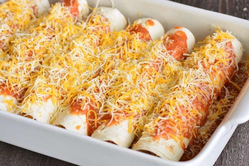 chicken enchiladas before baking
