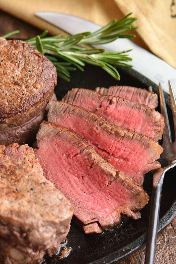 sliced filet mignon steak