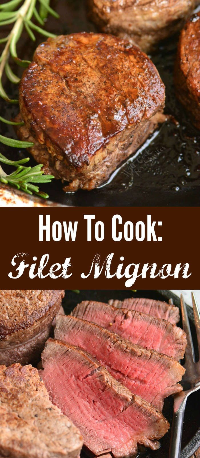 collage of cooked filet mignon steaks