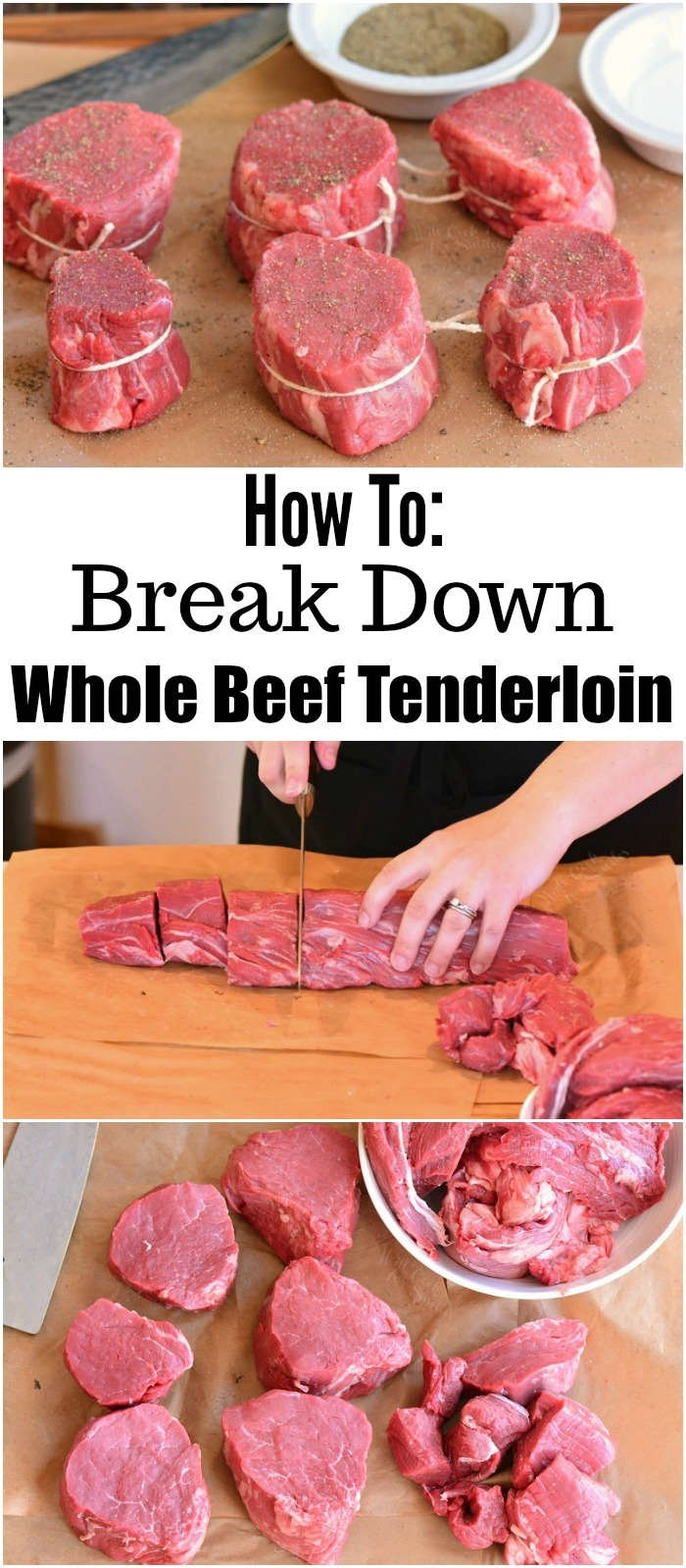 collage of breaking down tenderloin into steaks
