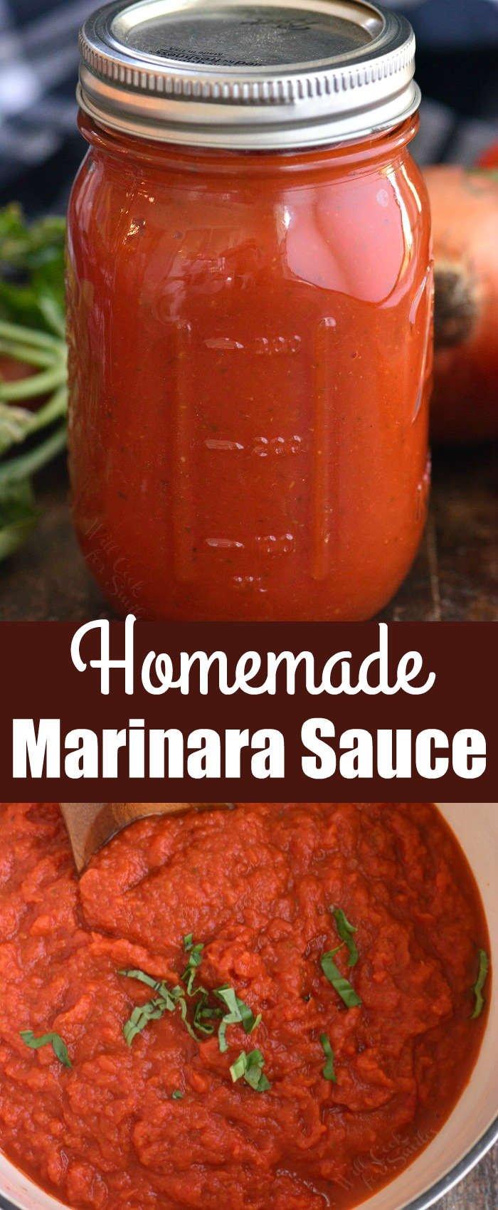 long collage of marinara sauce