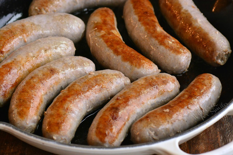 sausage cooking in the pan