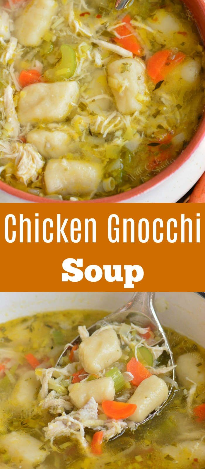 chicken gnocchi soup long collage