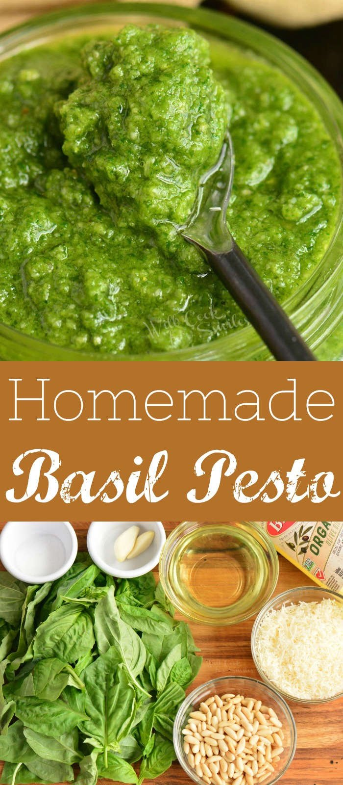 long collage of pesto and ingredients