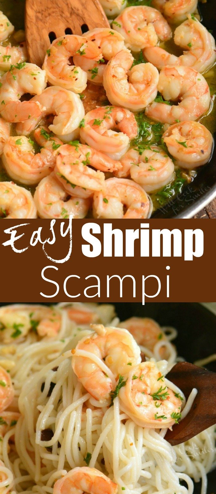 long picture collage of shrimp scampi in a pan