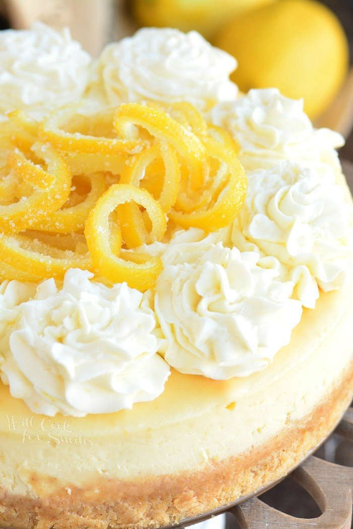 close up of whole lemon cheesecake