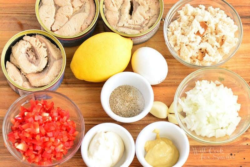 ingredients to make salmon patties