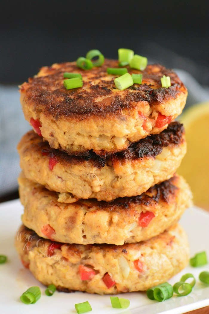 stack of 4 cooked salmon patties