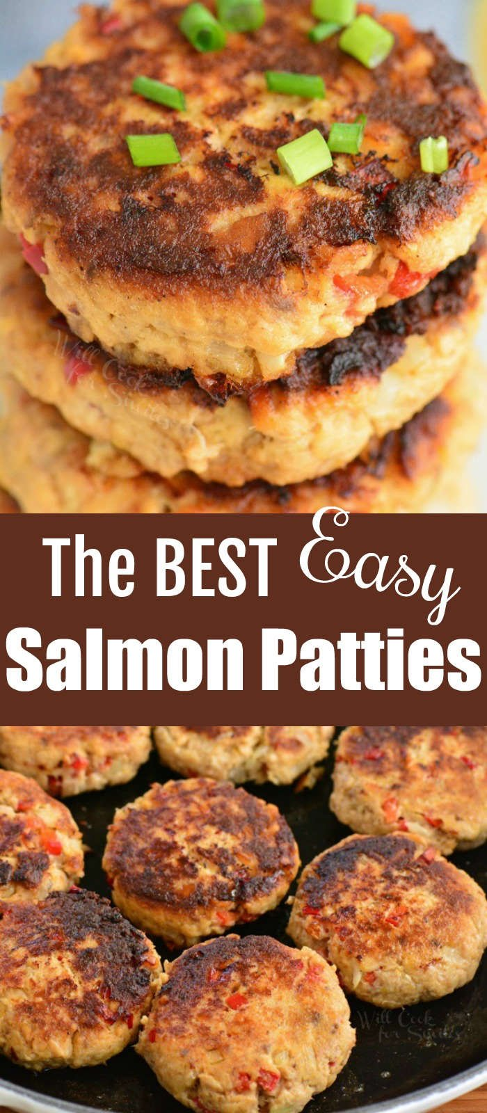 long collage of cooked salmon patties
