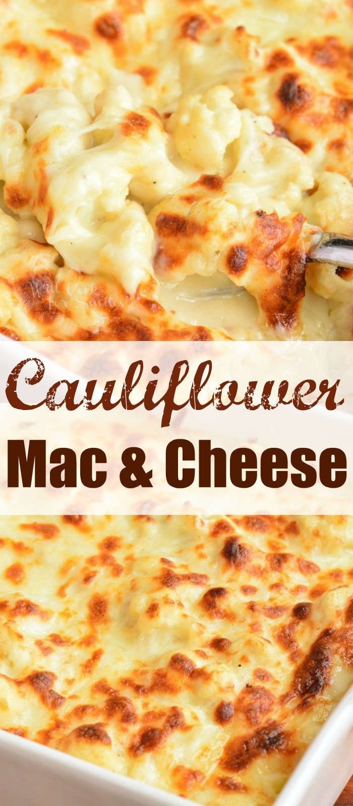 collage of two images of cooked cauliflower mac and cheese with words in the middle