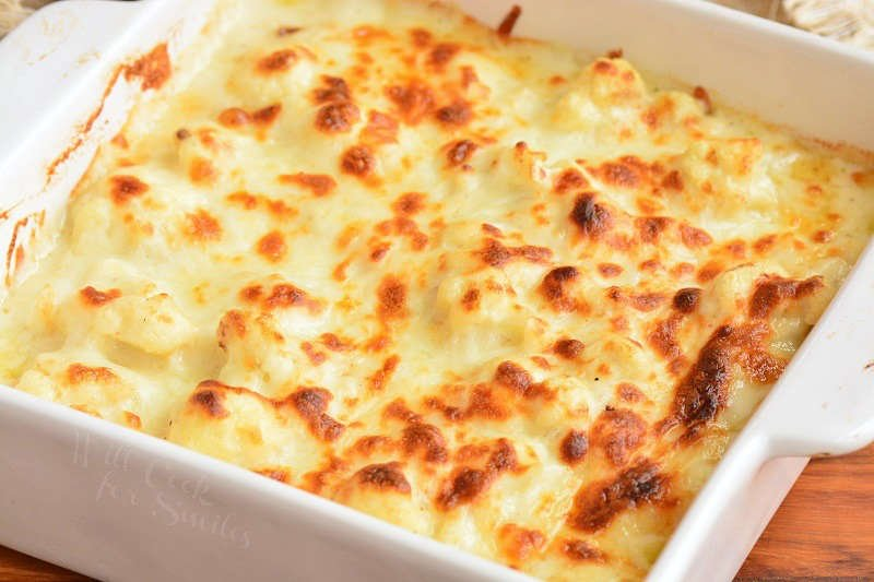 baked cauliflower mac and cheese in the baking dish