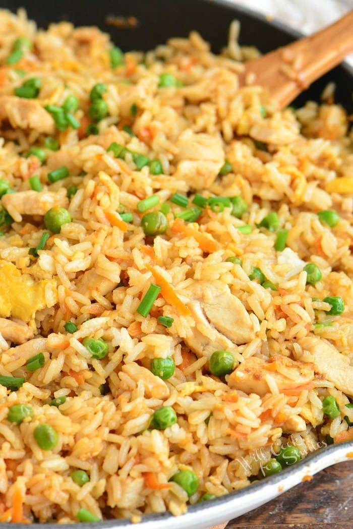 cooked chicken fried rice in a pan vertical view