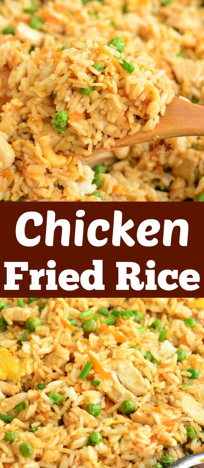 long collage of two chicken fried rice in a pan pictures and title in the middle