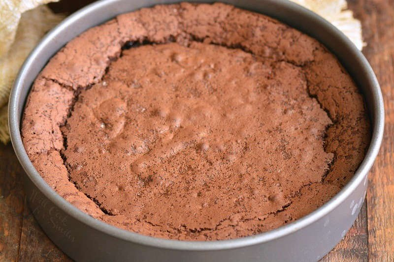 chocolate cake baked in the pan