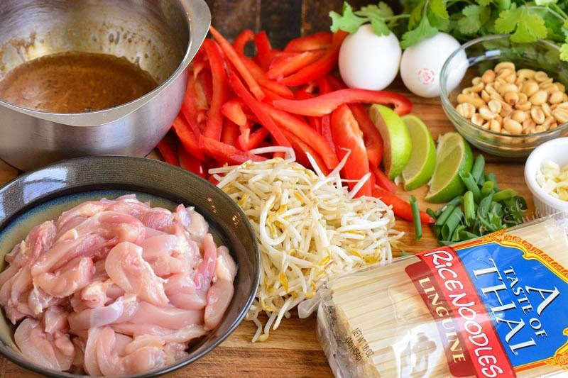 ingredients for pad thai on the cutting board