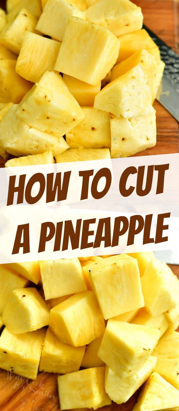 collage of two images on cut pineapple on the board on top and bottom and title in the middle