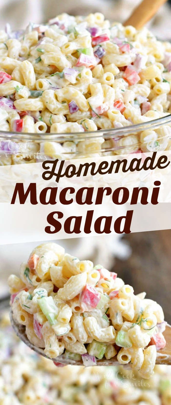 long collage of two images of side view of macaroni salad in a glass bowl and spoonful of salad
