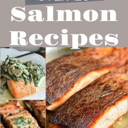collage of 7 different cooked salmon images with title in the middle