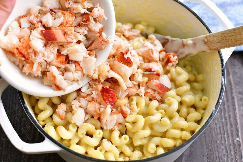 adding cooked lobster meat out of the white bowl into the pot with corkscrew pasta mixed with cheese sauce