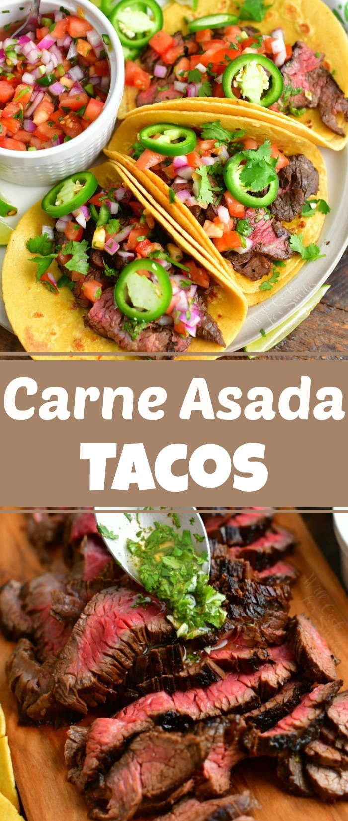 collage of two images of three steak tacos in a plate side by side next to bowl of pico and pouring cilantro topping over sliced steak on the bottom