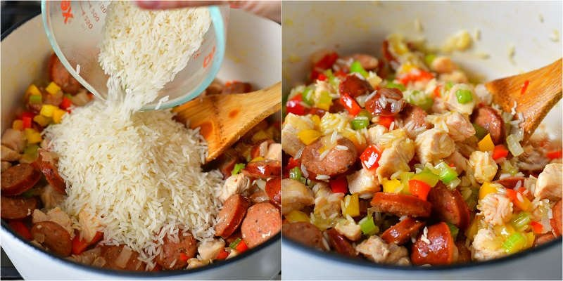 collage of two images of cooking steps with rice being added to the meat and vegetables on the left and uncooked rice mixed in with meat and vegetables on the right