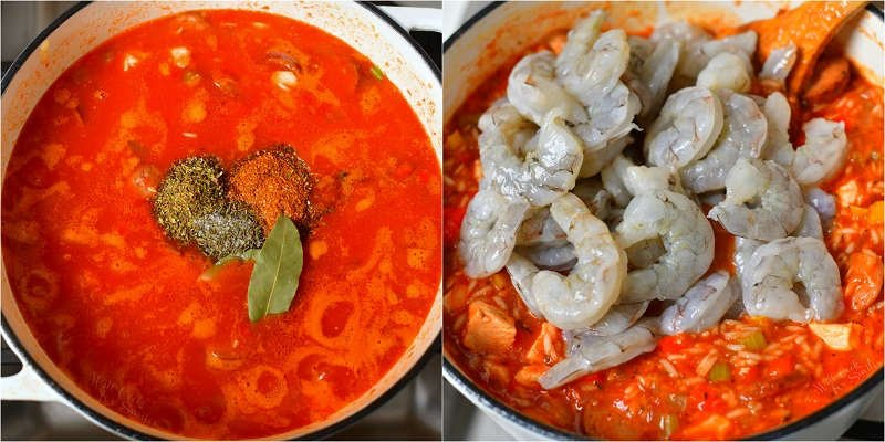 collage of two images with seasonings scooped into the top of the red meat and rice mixture on the left and raw shrimp added to the pot of rice and meat mixture on the left