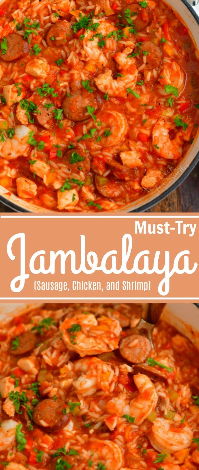 tall collage of two images of cooked jambalaya in a pot on top and spooning a ladlefull of jambalaya on the bottom