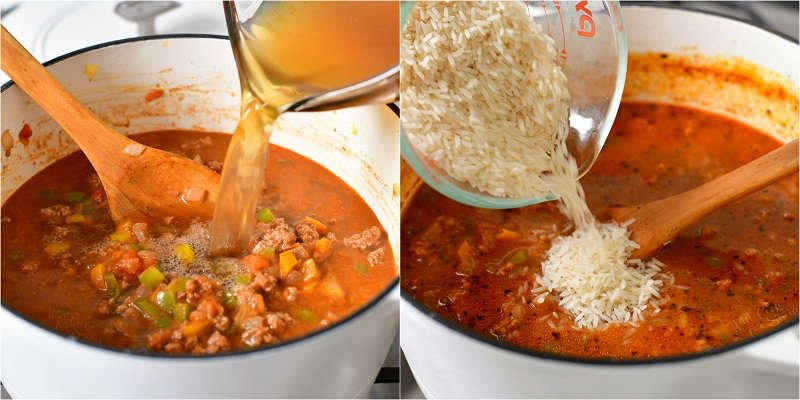 two photo collage: adding stock and uncooked rice to pot for a soup recipe