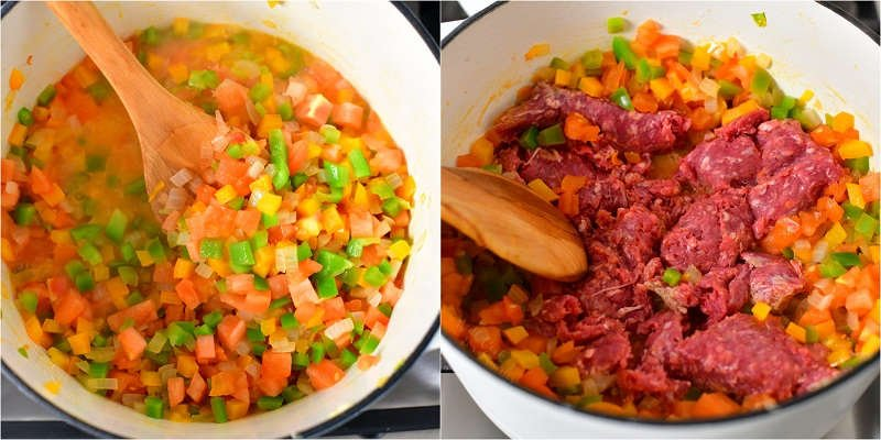 2 photo collage: making a stuffed pepper soup recipe