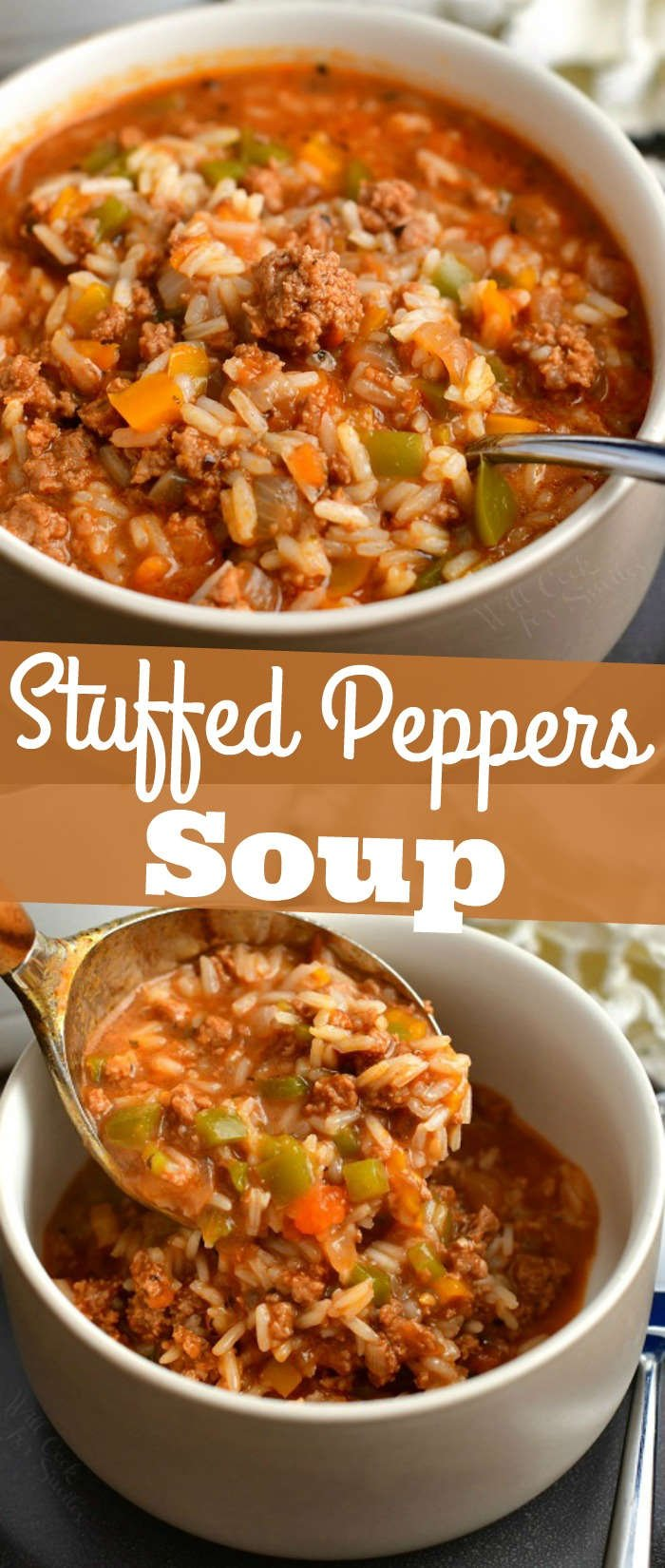 titled photo collage of stuffed peppers soup