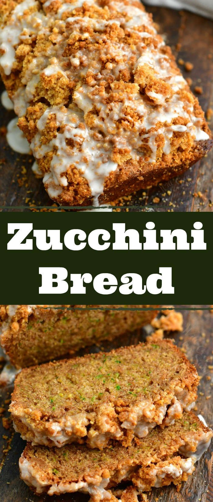 collage of two images: on to is the close view of the top of zucchini bread topped with crumble and icing and on the bottom is two slices of zucchini bread cut off the loaf