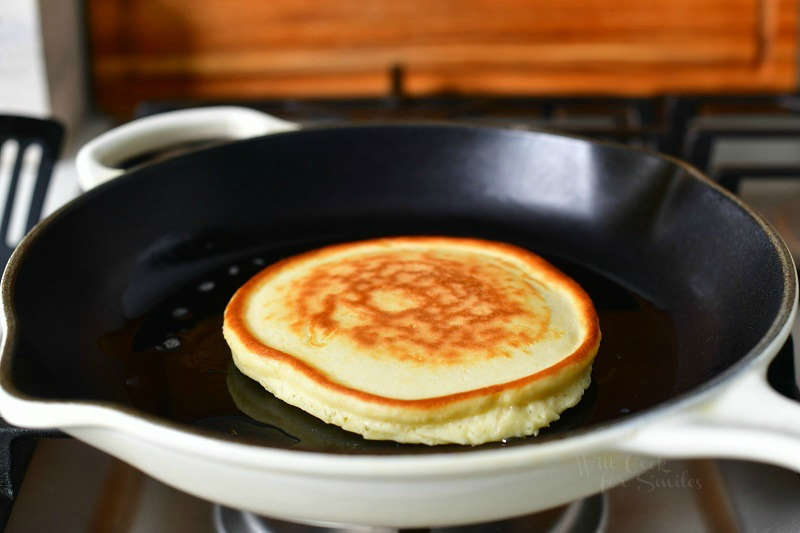 pancake cooking in the middle of a cooking pan