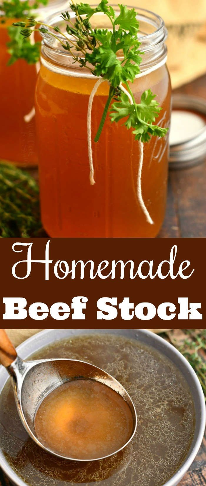 "titled photo collage: ""Homemade Beef Stock"" - stock in glass jar and on a ladle"