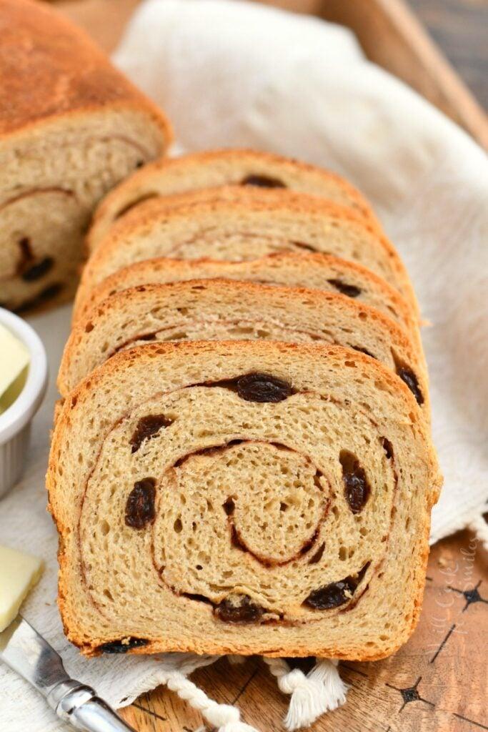 freshly baked slices of cinnamon raisin bread