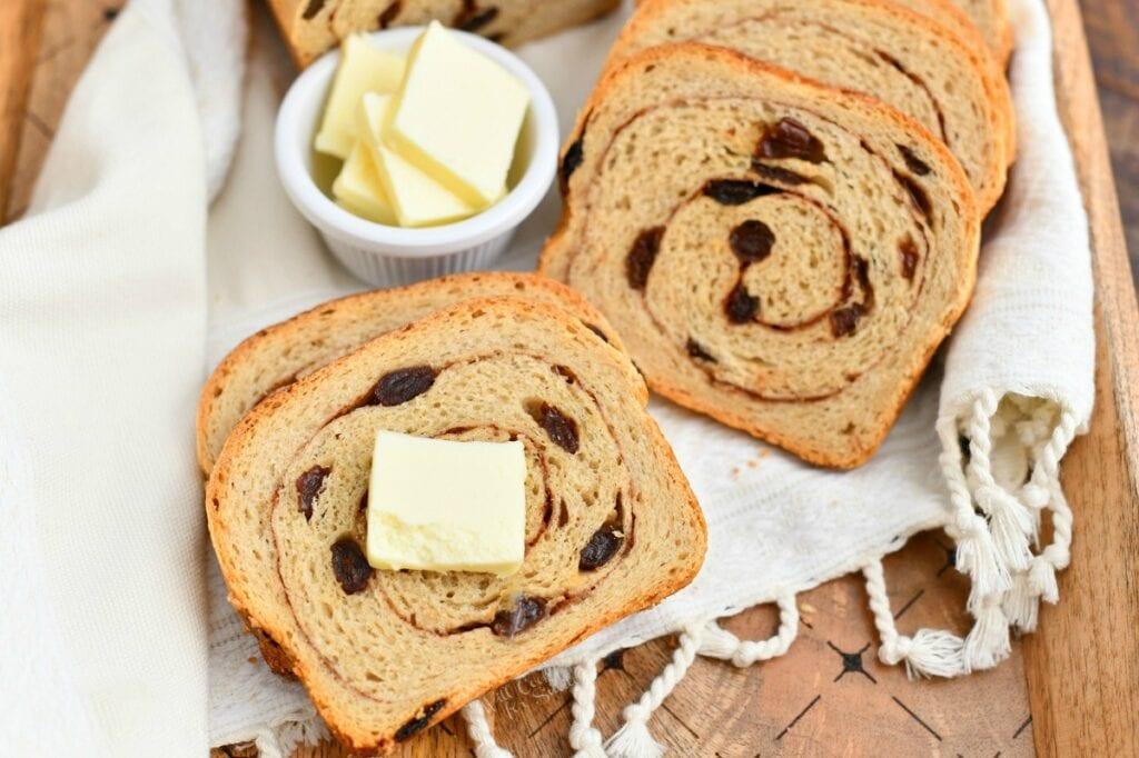 homemade slices of cinnamon swirl raisin bread