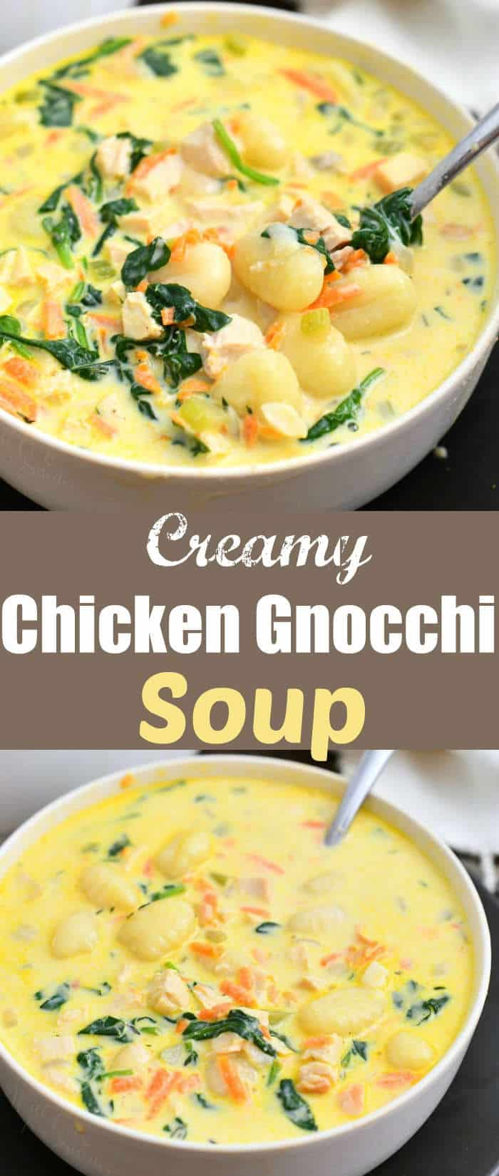 titled photo collage (and shown): creamy chicken gnocchi soup