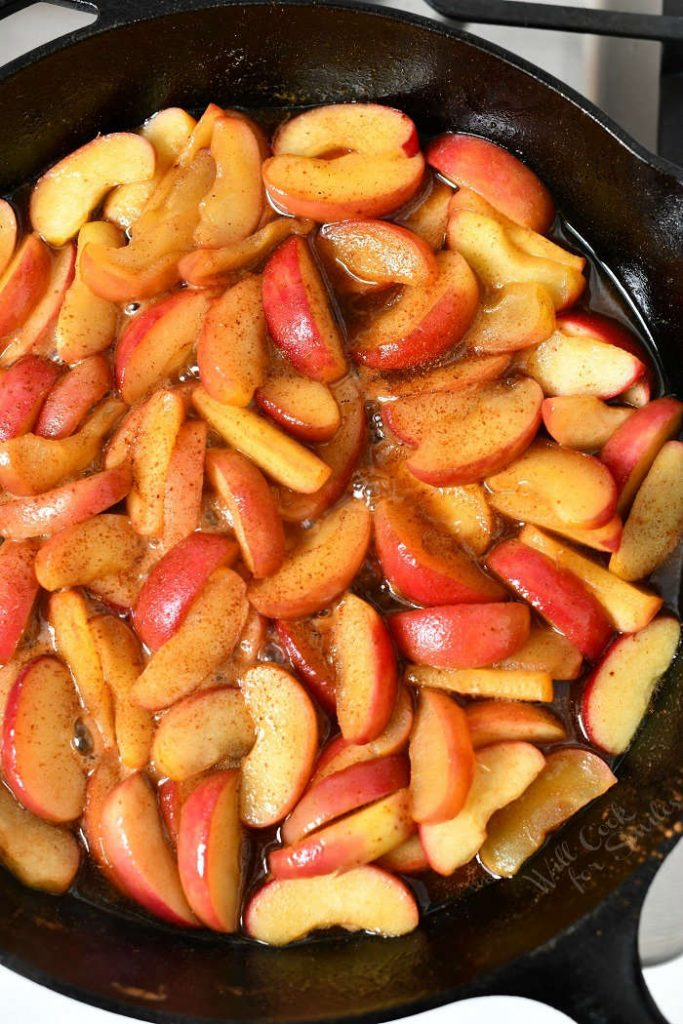overhead photo: fried apples in cast iron skillet