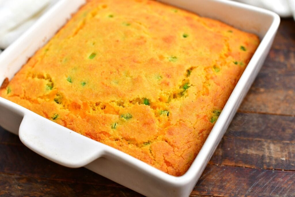 pan of homemade cheddar cheese cornbread