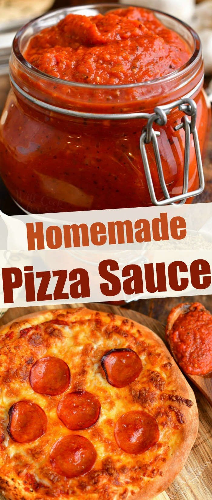 "titled photo collage ""Homemade Pizza Sauce"" shows sauce in jar and on a baked pepperoni pizza"