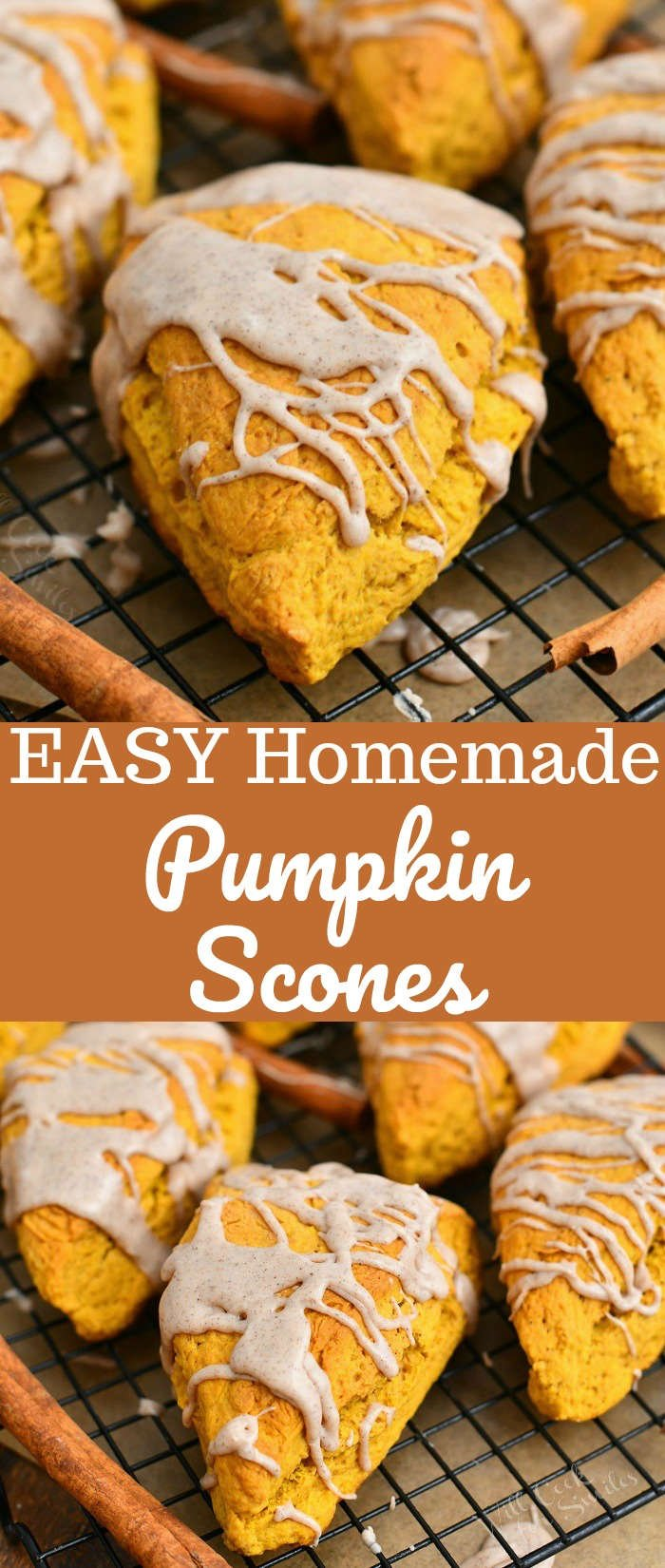 titled photo collage of easy homemade pumpkin scones