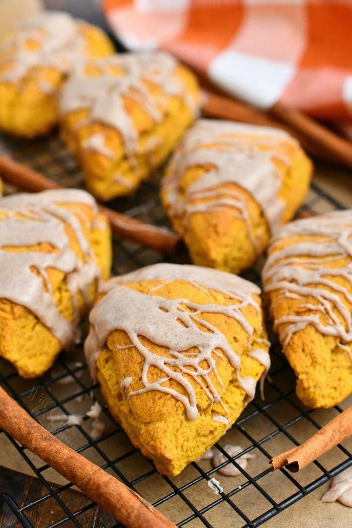 soft pumpkin scones drizzled with glaze