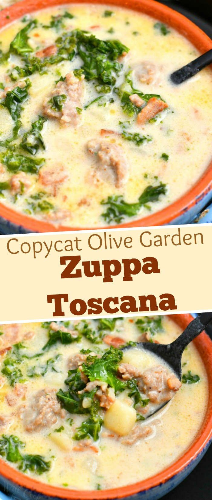 titled photo collage shows bowls of Zuppa Toscana soup