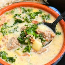 overhead photo: bowl of homemade Zuppa Toscana soup