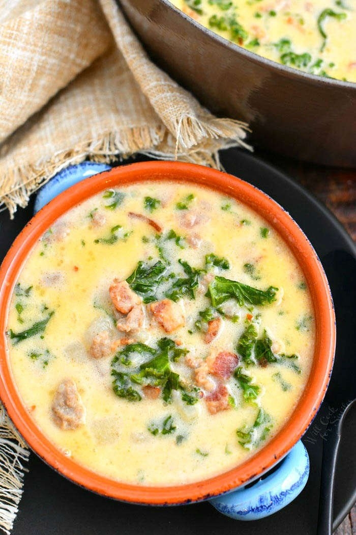 overhead photo: copycat version of Olive Garden Zuppa Toscana soup