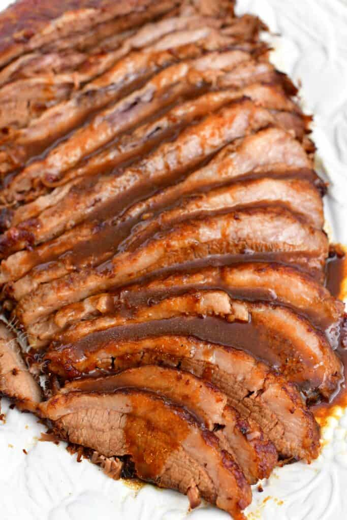 baked brisket slices covered with balsamic sauce