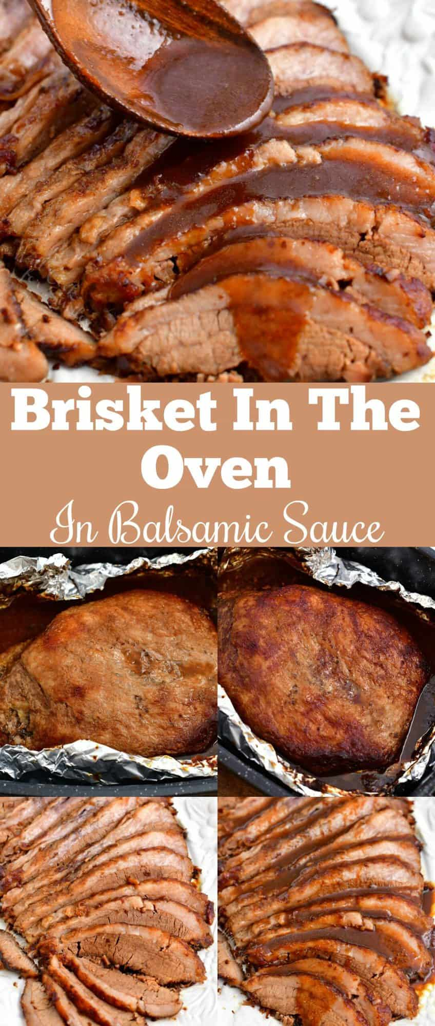 Titled photo for Pinterest: Brisket in the Oven with Balsamic Sauce